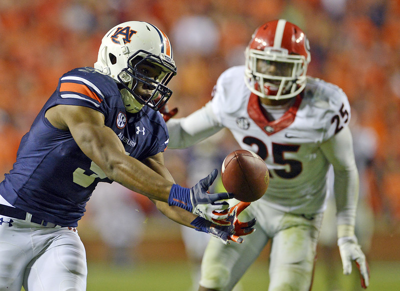 Auburn wide receiver Ricardo Louis (5) baubles and catches the ball, continuing for a touchdown during the game at Jordan-Hare Stadium on Saturday, Nov. 16, 2013. (Montgomery Advertiser, Amanda Sowards)