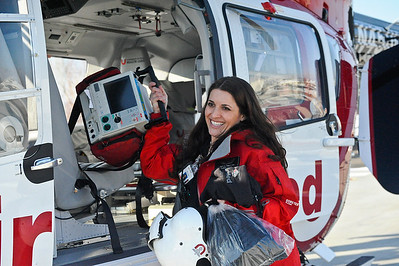 Melanie Thelin air nures removes equipment from the hospitals new Air Med helicopter at Ogden Regional Hospital in Ogden on February 6, 2013  (Brian Wolfer Special to the Standard-Examiner)