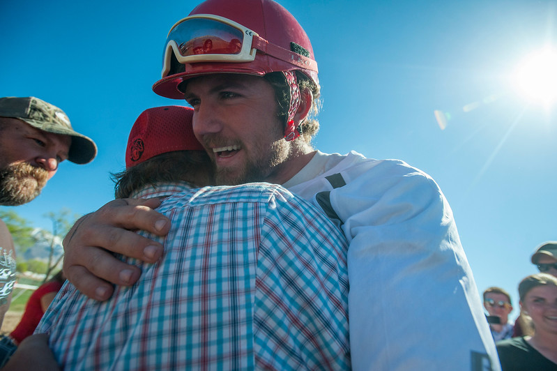 Josh Thuerer celebrates his win of the 2015 Cutter and Chariot Racing World Championship with the OK Boys Team and his family.  At the Weber County Fair Grounds in Ogden on March 29, 2015