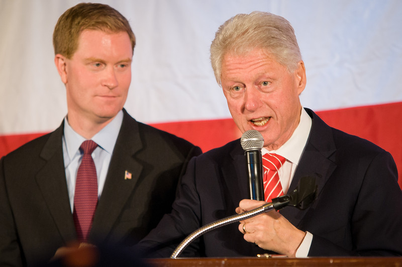 November 1, 2010, President Clinton speaks at a Democratic rally for Scott Murphy in Saratoga Springs, NY, while Congressman Scott Murphy looks on. Murphy was defeated at the polls the following day by Republican nominee Chris Gibson. Photo/Christopher Weigl
