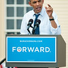 September 7, 2012 -  President Obama addresses the crowd, which the Obama campaign estimated at over 6,000, during a September 7th rally at the Strawbery Banke Museum in Portsmouth, NH. In addition to the President, crowds were treated to appearances by Vice President Joe Biden, First Lady Michelle Obama, Dr. Jill Biden, Senator Jeanne Shaheen, and Governor John Lynch. Photo/Christopher Weigl