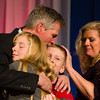 Nov. 6, 2012 - Incumbent Senator Scott Brown hugs family members on-stage after delivering his concession speech at the Park Plaza Hotel on election night. Brown lost his Senate race to Democrat Elizabeth Warren. Photo by Christopher Weigl