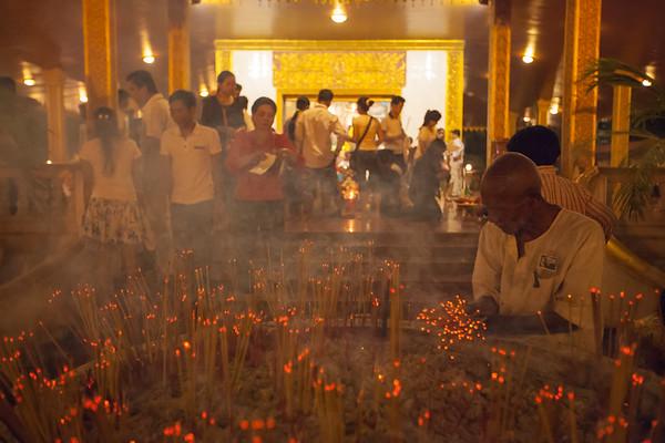 Incense at the Shrine to Preah Ang Chek & Preah Ang Chorm