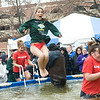 Members of Alpha Sigma Alpha participate in Polar Plunge outside of the Hulman Center, a fundraiser for Indiana Special Olympics.