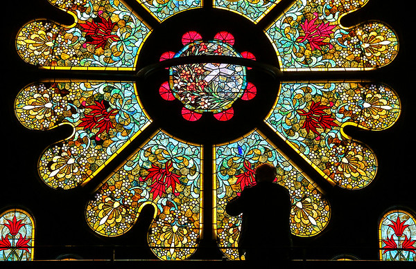 Paul Lasseigne of North Little Rock takes a look at the stained glass rose window during the Sandwiching in History event sponsored by the Arkansas Historic Preservation Program at First United Methodist Church Little Rock Friday, January 5, 2018.