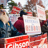 November 1, 2010 - Supporters of Republican candidate for Congress Chris Gibson maintain a strong presence outside the Democratic rally for rival Scott Murphy in Saratoga Springs, NY, one day before voting day. Chris Gibson went on to win the election. Photo/Christopher Weigl