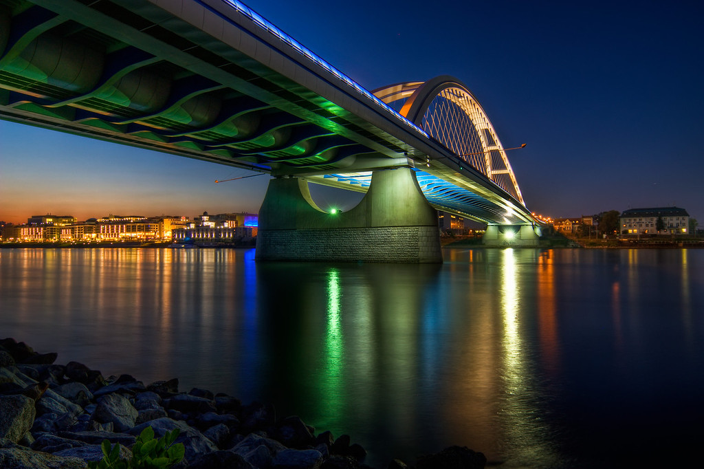 Green light on Apollo BridgeStill not back home, still just uploading older photos. This one is of the Apollo bridge in Bratislava.HDR from three shots, taken with Canon 450D with Sigma 10-20mm lens, from a gorillapod.