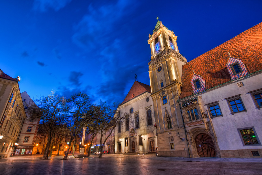 Old Town Hall  Something more from the Main Square in Bratislava. This time it's the Old Town Hall  HDR from three shots, taken with Canon 450D with Sigma 10-20mm lens, from a tripod.