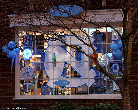 "2-16-08-- saturday<br /> storefront decorated due to the game today.  <br /> UNC won!<br /> <br /> ""we cannot direct the wind, <br /> but we can adjust the sails.""<br /> <br /> -- bertha calloway"