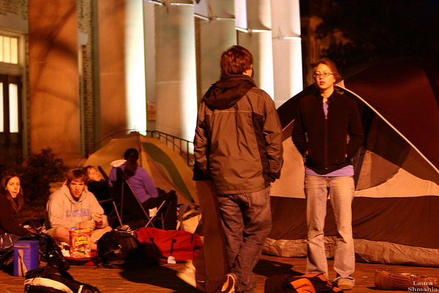 "2-20-07-- Tuesday<br /> tent city in front of Memorial Hall- UNC students are camping out tonight in order to be assured of getting tickets tomorrow morning for a Ben Folds concert!<br /> <br /> ""I'm a great believer in luck, <br /> and I find the harder I work, <br /> the more I have of it.""<br /> <br /> -- Thomas Jefferson"