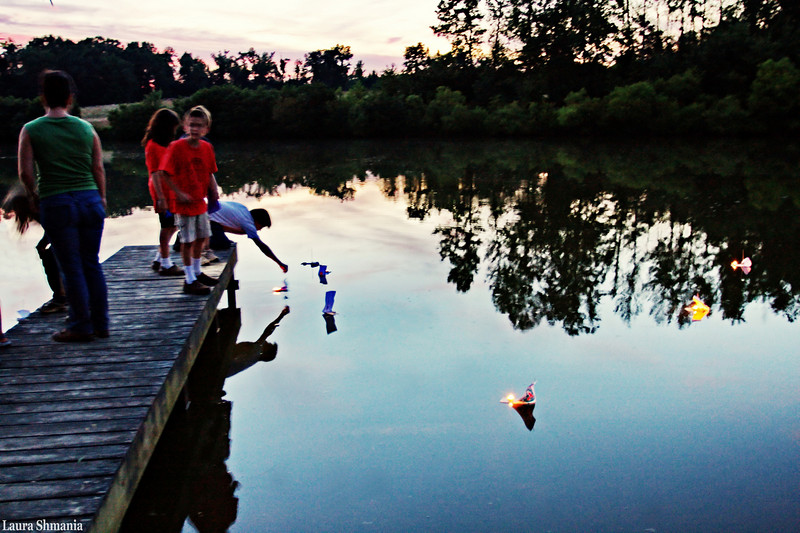 """6-27-09-- saturday<br /> launching tiny boats with candles on a pond for st johns festival celebration<br /> <br /> """"I find the great thing in this world is not so much where we start, as in what direction we are heading.""""<br /> <br /> -- goethe"""