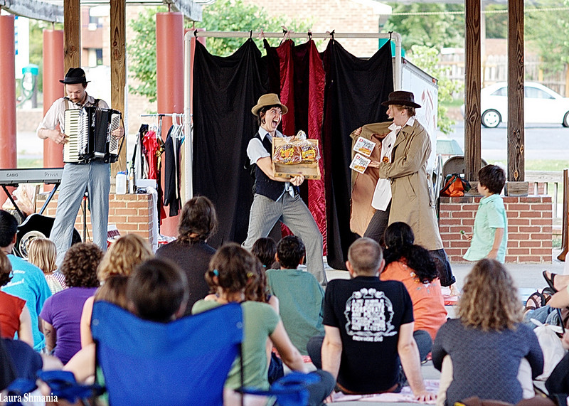 """6-29-09-- monday<br /> vaudeville comes to carrboro town commons<br /> <br /> """"laughter is an instant vacation.""""<br /> <br /> -- milton berle"""