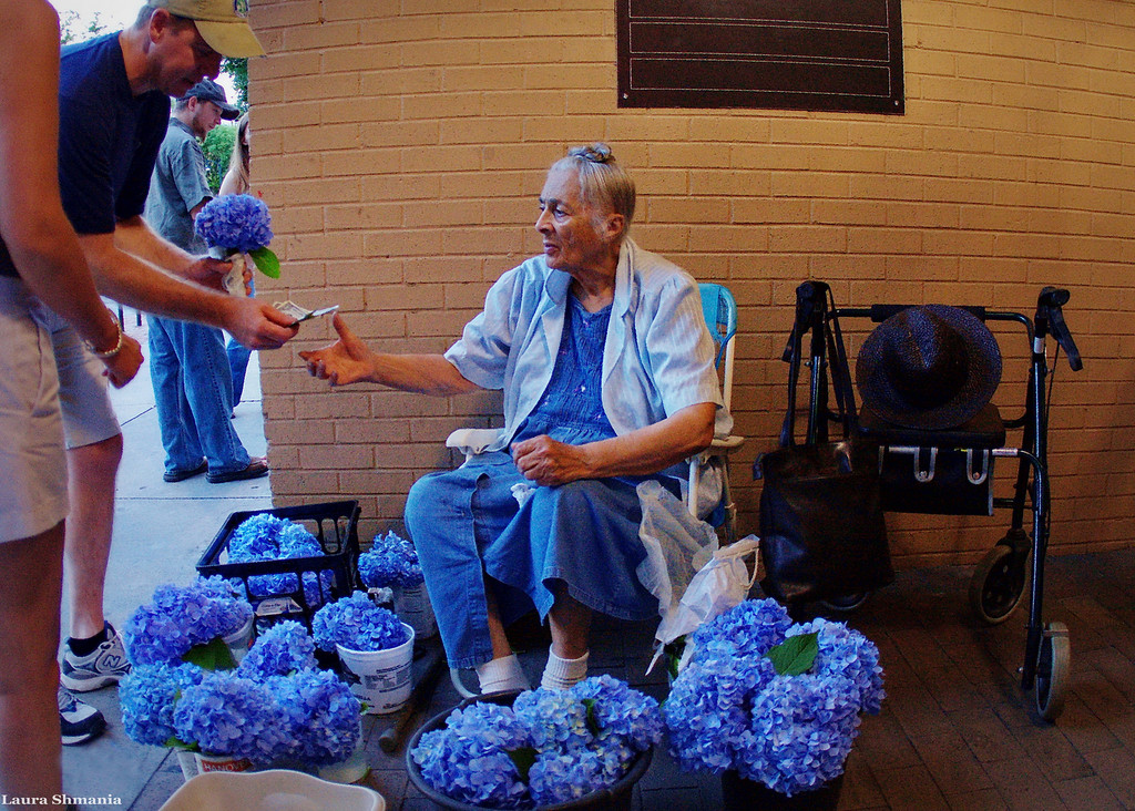 "6-11-09-- friday Lily Pratt, the Chapel Hill Flower Lady  ""Not only has she been selling her flowers on Franklin Street for half a century, but her family history includes prominent African-American leaders who founded important community institutions in and around Chapel Hill.  Born and raised in Orange County, North Carolina, Lily Pratt says she has been growing and selling flowers locally for about fifty years. 'I've always enjoyed raising flowers,' she says. 'That's the main thing, to enjoy what you do.'""  To read more of her story, <a href =""http://dlatman.com/2007/10/17/lily-pratt-flower-lady/index.html "">click here</a>"