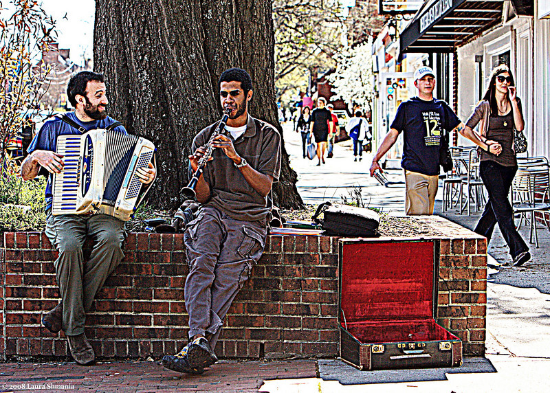"4-3-09-- friday<br /> musicians on franklin street<br /> <br /> ""I wish you music to help with the burdens of life.""<br /> <br /> -- beethoven, in a letter to a friend"