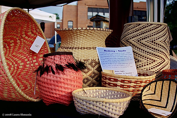 "8-16-08-- saturday hand crafted baskets at the carrboro farmers' market  <a href=""http://butterflites.smugmug.com/gallery/2871836_FbSas#353142992_SZn35/"">click here</a> to see more photos of the market  ""the soul's creative power strives from the heart's deep ground.  kindle your god-like gifts for rightful work in human life.  fashion the self in human love and human deeds.""  -- rudolf steiner"