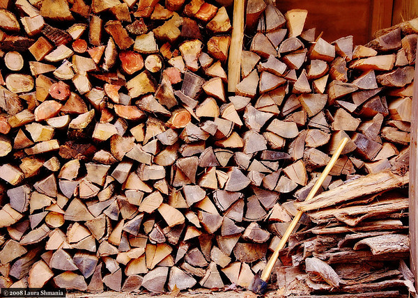 "12-29-08-- monday<br /> the wood pile with a new load of firewood.<br /> <br /> ""all great things are simple, and many can be expressed in single words: freedom, justice, honor, duty, mercy, hope.""<br /> <br /> -- sir winston churchill"