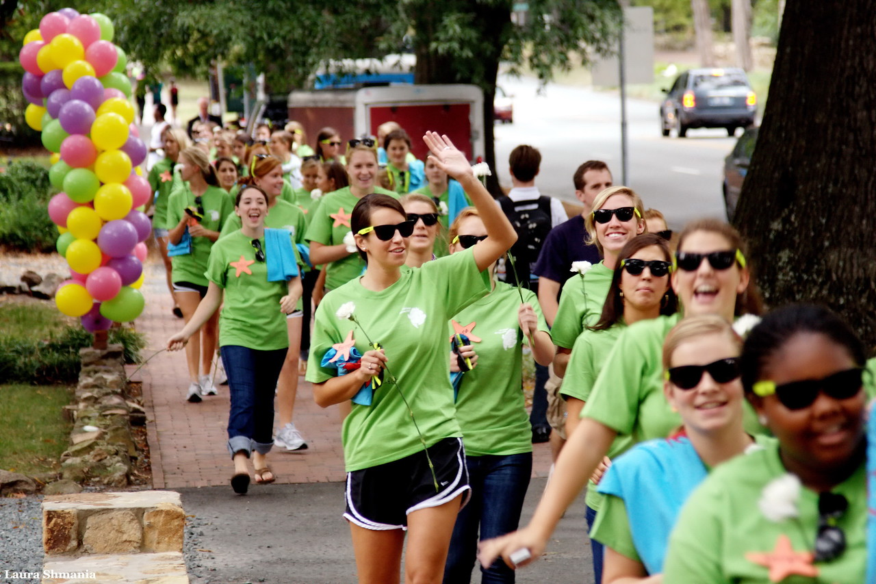 """9-10-09-- Thursday<br /> Lots of excitement on campus due to """"Bid Day"""" for UNC sororities<br /> """"Bid day, the official end of the Panhellenic Council's formal rush process, is when potential new members are informed of which sorority house has offered them a spot.""""  UNC Daily Tarheel"""