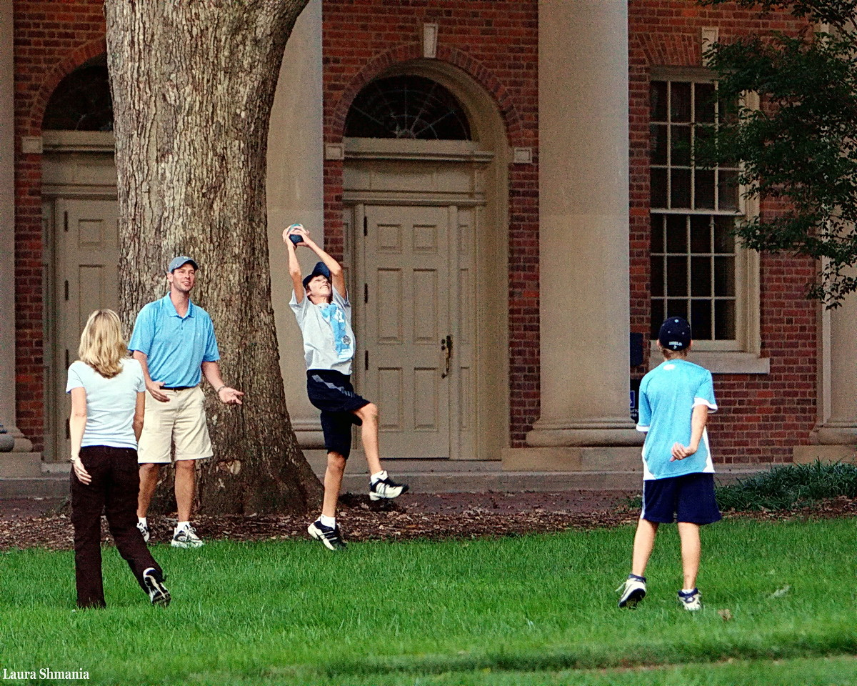 10-3-09-- saturday<br /> family playing football on campus after today's game (unc lost ...)
