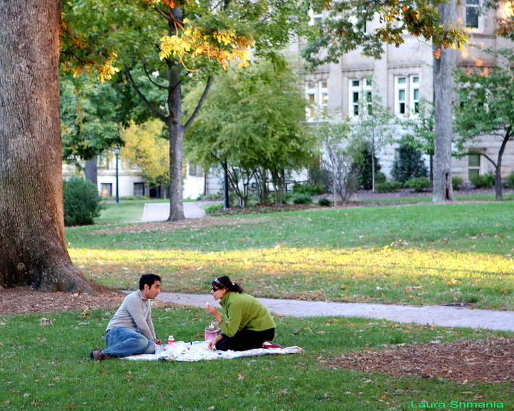 """11-6-07-- Tuesday<br /> a fall picnic on the quad<br /> <br />  """"who would ever think that so much went on in the soul of a young girl?"""" <br /> <br /> -- anne frank"""