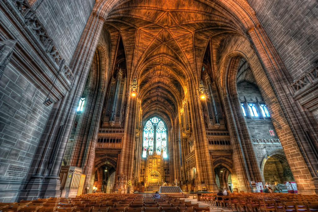 More from Liverpool CathedralI really regret I didn't take more exposure than three. Anybody working at Canon? We need more than three shots on AEB :). Well I always learn from my mistakes. Next time I take at least nine :)HDR from three shots, taken with Canon 450D with Sigma 10-20mm lens, from a tripod. Photo taken at the Liverpool Cathedra in Liverpool.