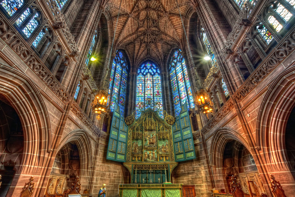 Lady Chapel Altar  I could probably take photos for days in the Liverpool Cathedral, but I had only something around one hour. Actually when I visited it the first time few years ago, I didn't know about this chapel. And it seems that many people which visit the cathedral don't know about it, as it was completely empty, when I was there :)  HDR from three shots, taken with Canon 450D with Sigma 10-20mm lens, froma  tripod.