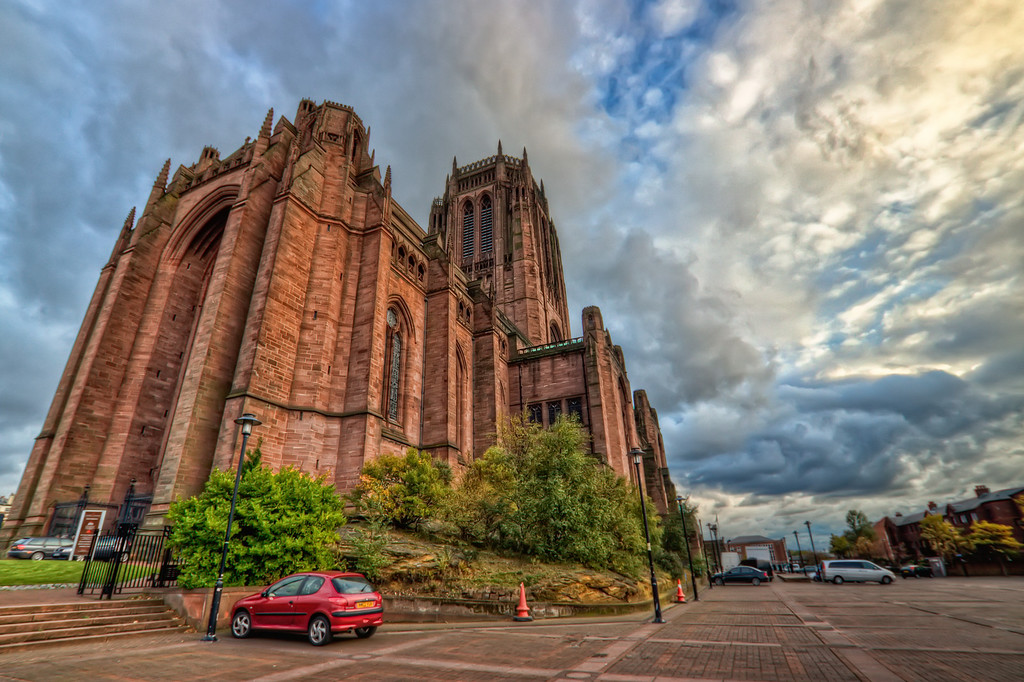 Liverpool CathedralShot taken in front of the Liverpool Cathedral.HDR from three shots, taken with Canon 450D with Sigma 10-20mm lens, handheld.