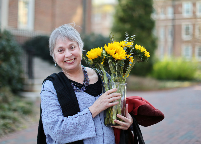 """Guess who is the birthday girl?! Flowers from her sister - a week in advance! (that's some planning ahead!) She has taught in the English department for 37 years. """"I love this University, the students, my colleagues, and working here."""""""