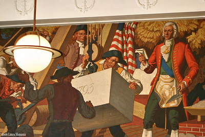 100 Block of East Franklin Street Mural inside the Post Office depicting the  1793 laying of the cornerstone for UNC.