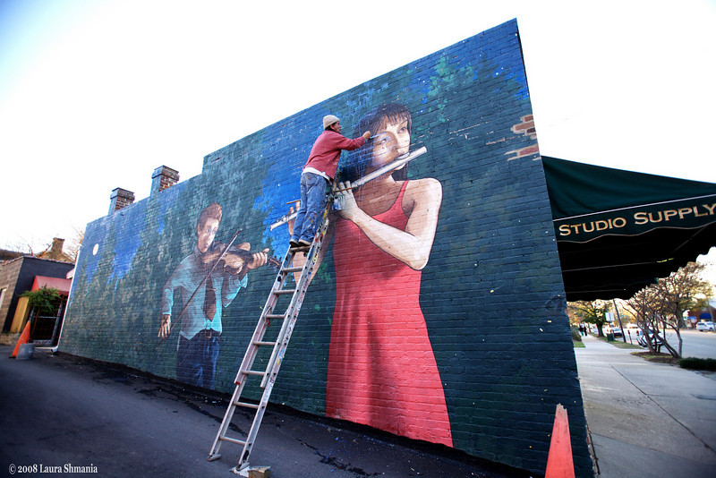 Mural restoration project of the Preservation Society of Chapel Hill