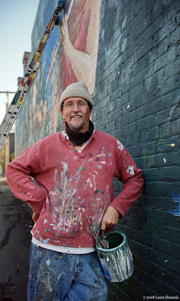 Micahel Brown and the mural restoration project of the Preservation Society of Chapel Hill