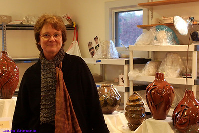Judith Ernst (shown)  ceramic art red clay co-op www.earthembracingspace.com www.gardenclosed.com