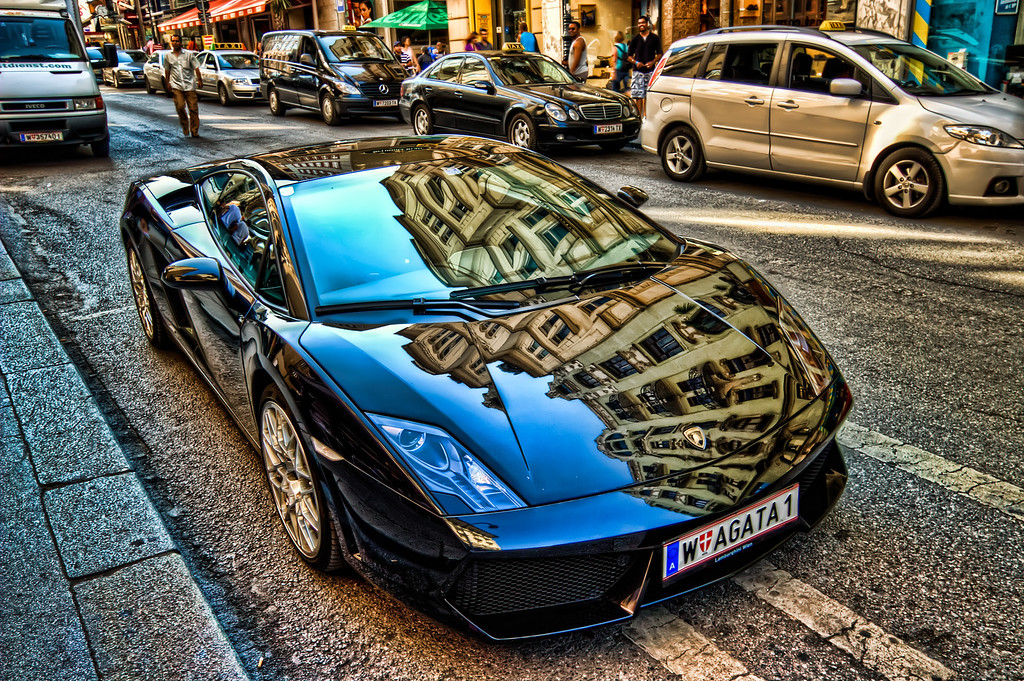 LamborghiniI took this photo when I was walking through the center of Vienna. I really like how the HDR process pulled out all the reflection on the car. I took three shots, but one of them was too blurry, so I created the HDR from one, brushing in some parts form the other photos. Taken with Canon 450D with Sigma 10-20mm lends, handheld.