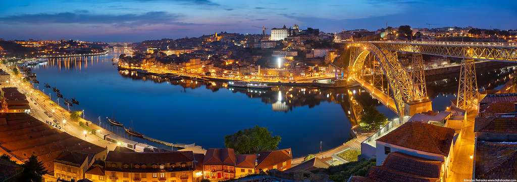 Evening panorama of Porto, Portugal