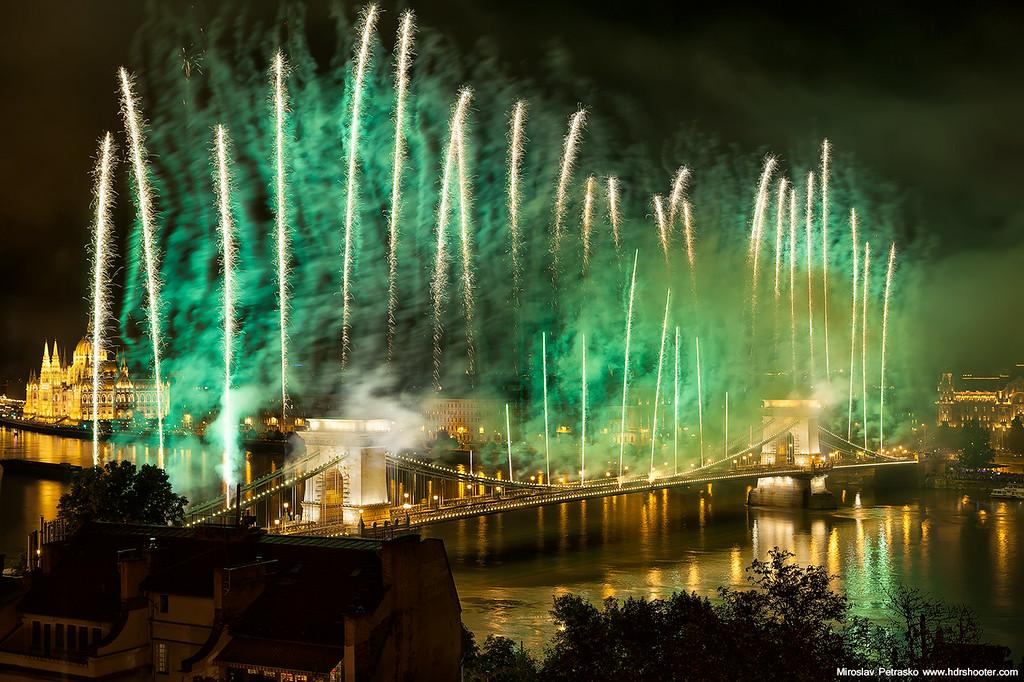 Chain bridge fireworks