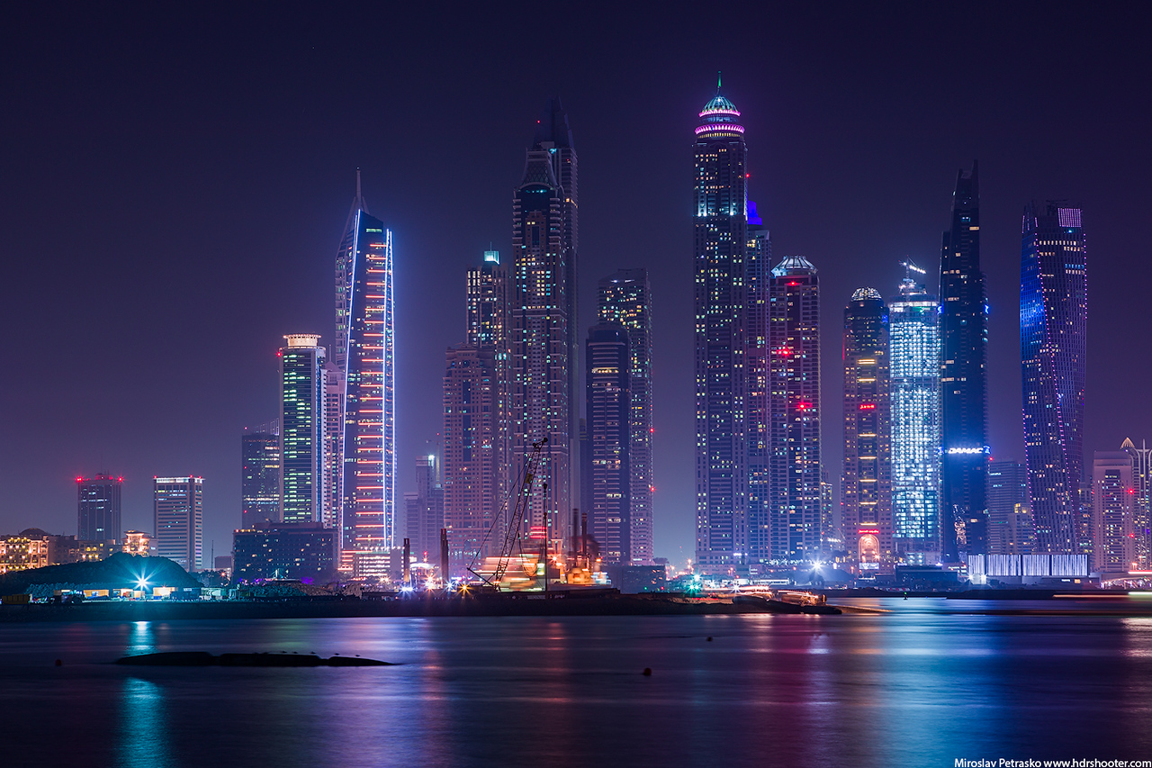 Dubai Marina in blue, Dubai, UAE