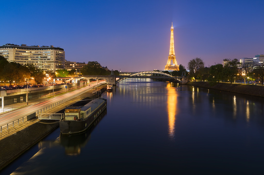 Evening at the bridge in Paris