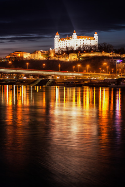 Bratislava Castle after dark I know, it's another photo of Bratislava castle. But as it is so dominant in Bratislava, you just have to take more photos of it. Same as when photographers from Paris have a lot of photos of the Eiffel tower, I have a lot of photos of the Bratislava Castle :)