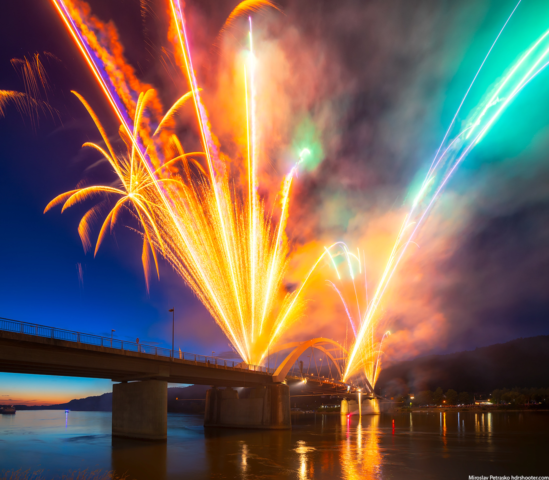 Fireworks at the bridge, Vilshofen, Germany