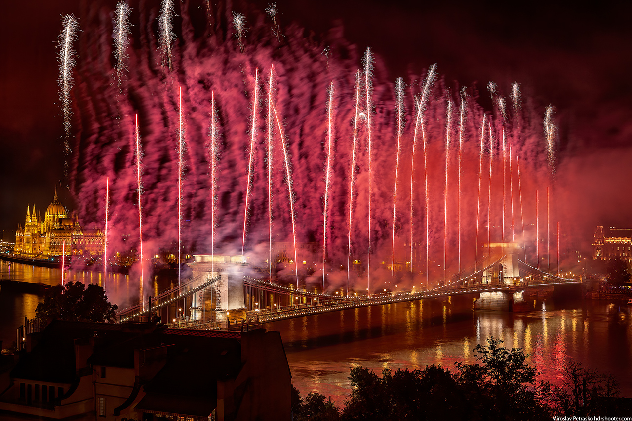 Fireworks over the Chain bridge, Budapest, Hungary