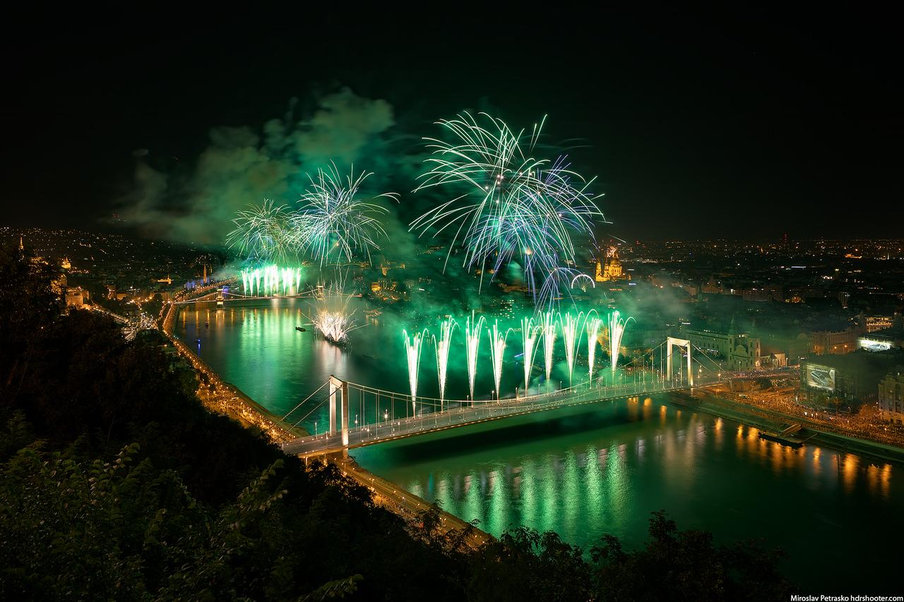 Green fireworks, Budapest, Huntary