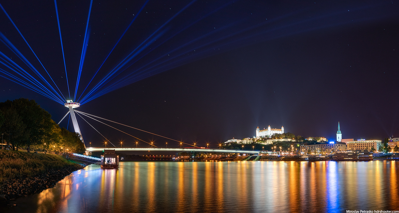 Light beams over Bratislava, White night, Slovakia