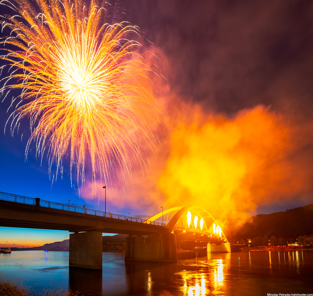 Flames over Danube, Vilshofen, Germany