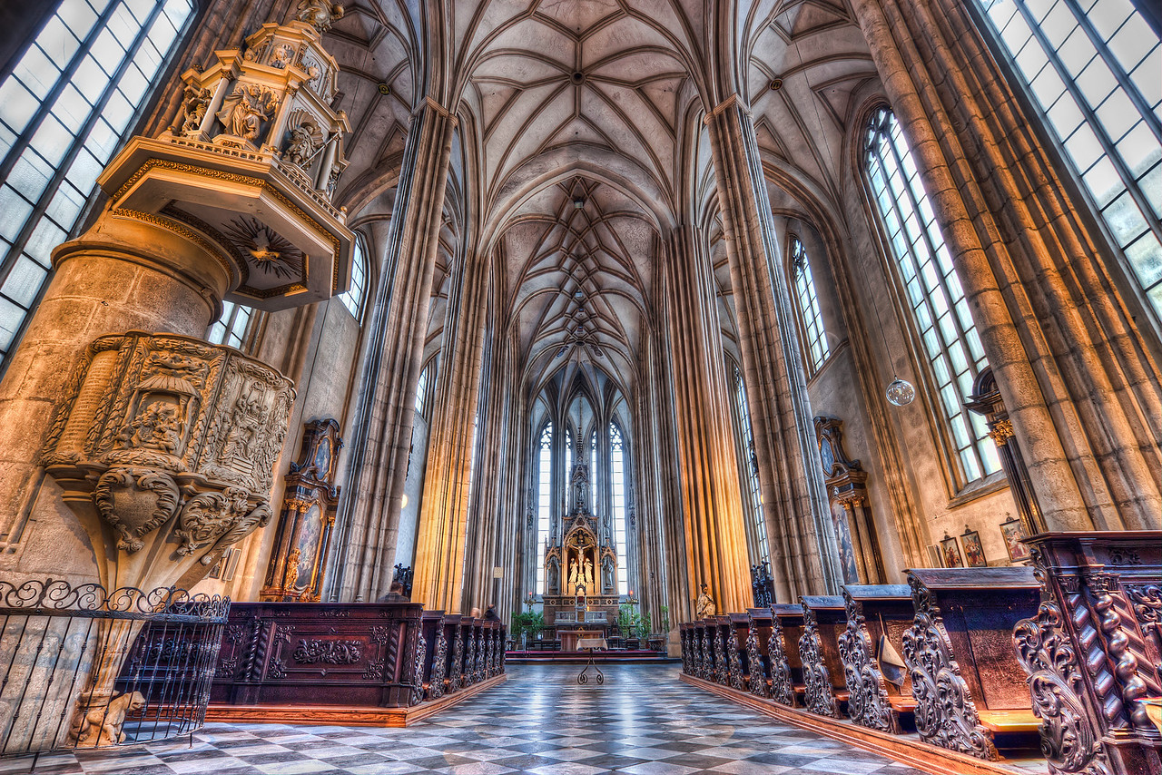 Church of St. James  Another image to my growing collection of church interiors in HDR :). Can't wait until I have more of them, so I can do a nice post about them on my blog :).   This one was taken at the Church of St. James (Kostel svatého Jakuba) in the center of Brno. The church is quite bright with a lot of light coming in, so I mad the HDR also nice and bright :).  HDR from three shots, taken with Canon 450D with Sigma 10-20mm lens from a tripod.