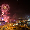 Fireworks over Danube<br /> <br /> So I tried again to take few photos of the midnight fireworks. For the last few years they were accompanied by a heavy fog, which hid most of them. But luckily, this year the weather played along, and I got some nice shots :) (so there will be a few more this week :))<br /> <br /> This photo was taken from the Bratislava Castle, you can see the New Bridge over Danube in it.<br /> <br /> HDR from a single shot, taken with Canon 450D with Sigma 10-20mm lens, from a tripod.
