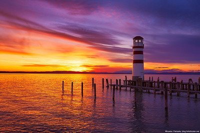 A sunset lighthouse