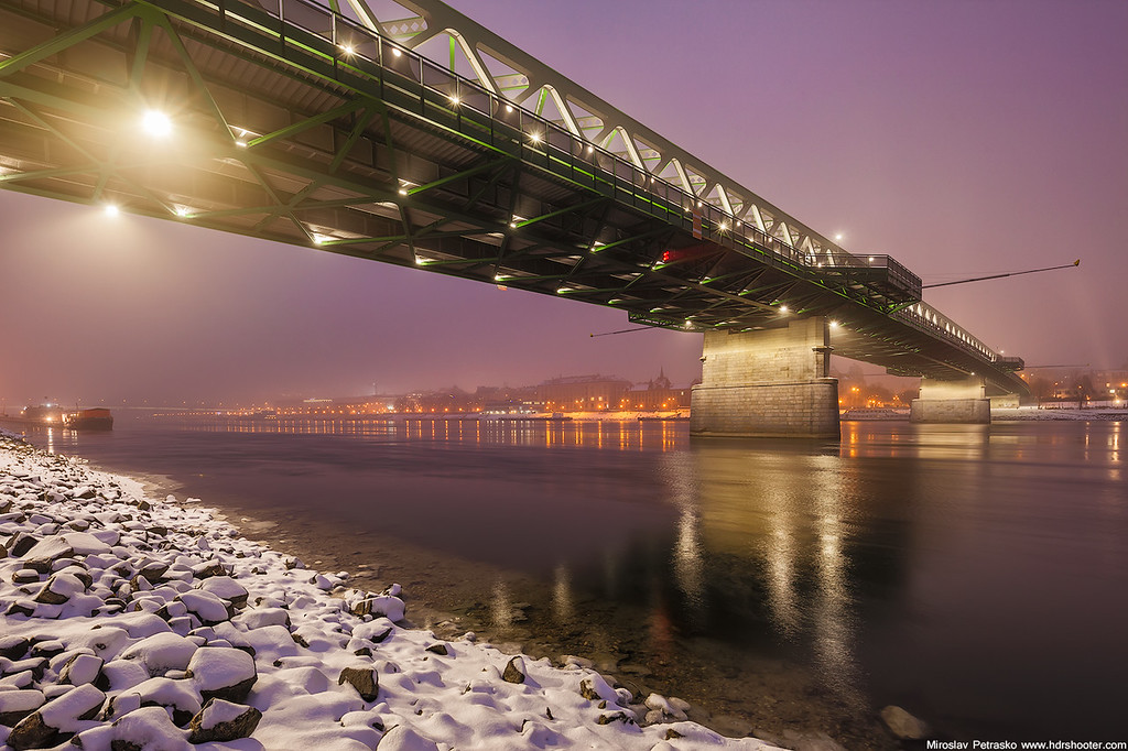 Foggy and cold at the Old bridge Bratislava Slovakia