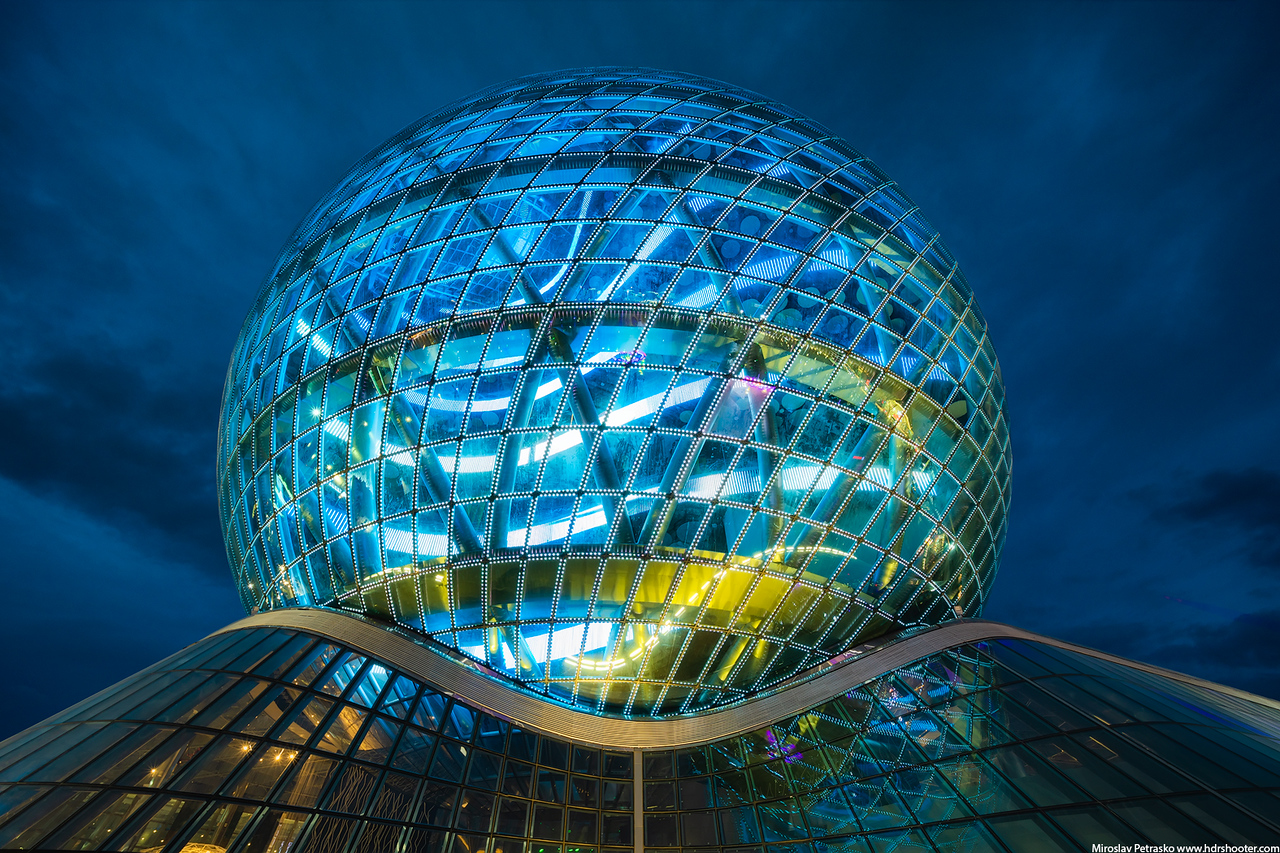 Sphere building in blue, Astana, Kazakhstan