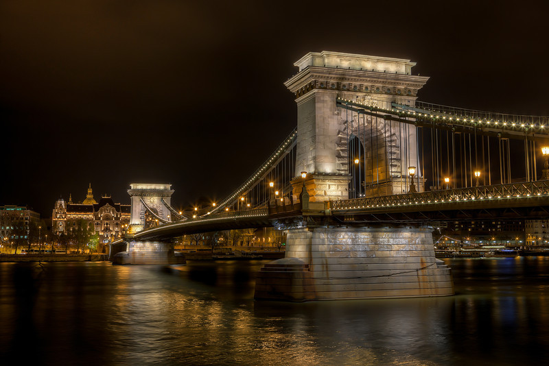 The rainy evening in Budapest Such a lovely bridge this is, I could spend days just taking photos of it. Same with all the other bridges in Budapest.