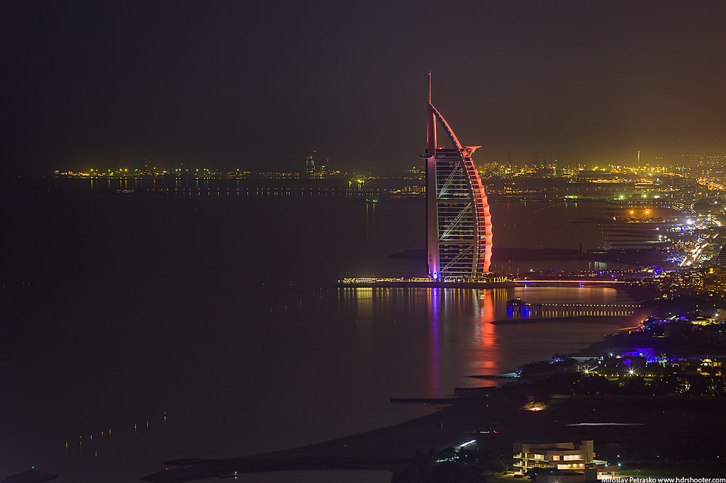 Night view of the Burj Al Arab, Dubai, UAE