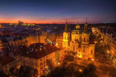 Two cathedrals  Looking at my photos from Prague, I'm really thinking that I should give myself a panoramatic tripod head for Christmas :) It would really look interesting.   HDR from three shots, taken with Canon 7D with Sigma 10-20mm lens, from a tripod.